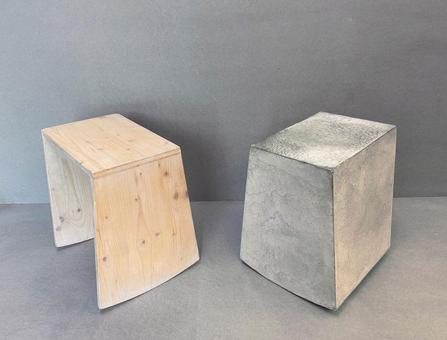 Wippstuhl aus Beton und Holz